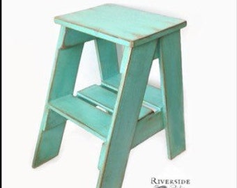 FREE SHIPPING / Rustic Side Table / Step Stool /Shabby Chic Furniture /  Bedroom Side
