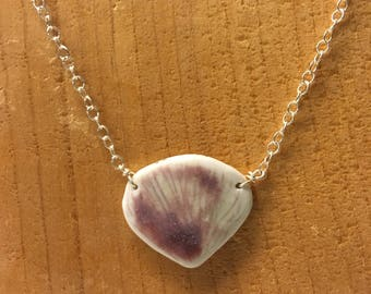 Porcelain shell pendant necklace dusty purple