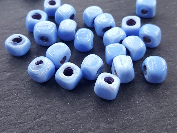 Bulk   30 Cornflower Blue Rustic Cube Glass Bead   Square Dice Shape Traditional Turkish Artisan Handmade   7mm   Turkish Glass Beads by Etsy