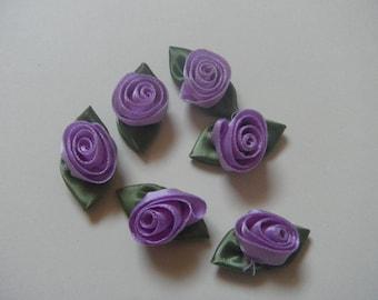 6 purple satin ribbon roses