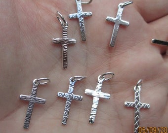 Sterling Silver Hammered Cross Charms(one cross charm)