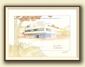 Villa Savoye  - Le Corbusier Architecture drawing  - art Print and original Watercolor painting & Print by Juan bosco