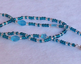 Turquoise and Silver Eyeglass Chain/ Lanyard. With Iridescent Stars.   Free Shipping