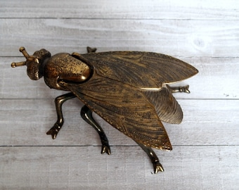 Large Vintage Brass Fly/ Moth/ Bug Ashtray. Made in Italy.