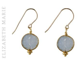 Blue Druzy Drop Earrings on 14K Gold Filled French Earwire