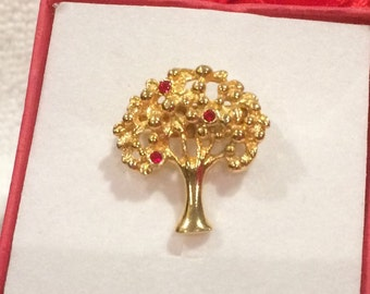 Beautiful Little Vintage Gold Tone Brooch - Designed in the Shape of a TREE- With Little RED Diamante's - Perhaps an APPLE Tree?-Very Pretty