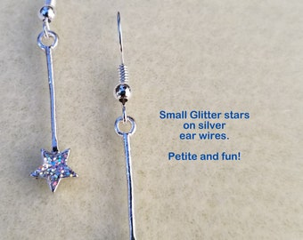 Dainty Sparkly Stars on Silver Ear Wires