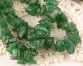 Bead, green aventurine (natural), dark, small chip,  Half Strand