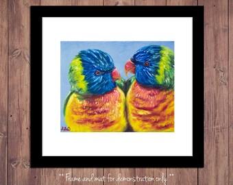 Lorikeet Bird Art Print from Original Oil Painting, Bird Art, Wildlife Art, Bird Painting, 4x5, 8x10