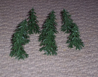 Mini pine trees,plastic, set of 8,Christmas crafting,scenery for model train lay outs,model building,school dioramas