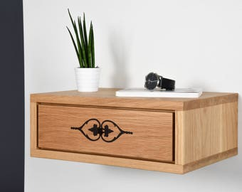 Floating nightstand / Bedside with drawer inlaid in solid oak / Side table modern mid century