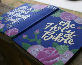 Hand Painted Bible / Custom ESV Journaling Bible / Graduation Gift / Hardback Bible / Personalized bible