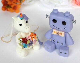 Unicorn and Robot wedding cake topper, custom bride and groom cake topper, geek nerd cake toppers, rainbow unicorn cake topper