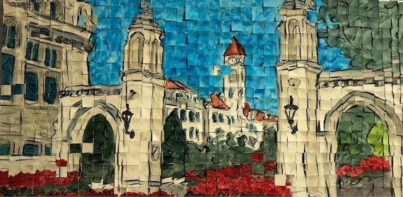 "University of Indiana- Sample Gates- Architectural Art: 10""x20"" Original Painting"