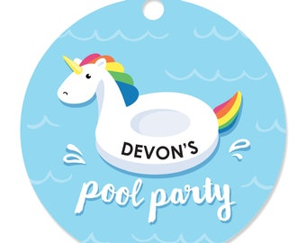 Make a Splash - Pool Party - Round Party Craft Tags - Personalized Summer Swimming Party Tags - Swimming Birthday Party - Pool Party - 20 Ct