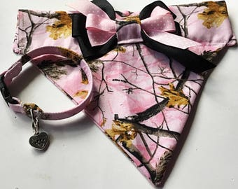 Pink Camouflage Girl Dog or Cat Bandana with Available Bracelet or Key Fob