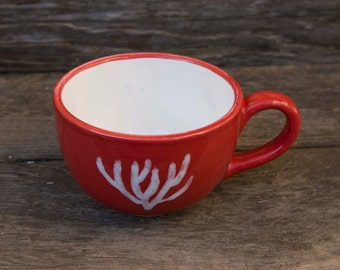 16 oz Mug, Red cup with White inside, White Seaweed outside, Red Seaweed inside.
