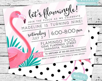 Flamingo Invitation with Thank You Note