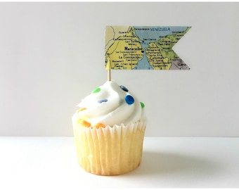 Map Cupcake Toppers - Flag Map Food Picks - Map Flags - Baby Shower Decor - Bridal Shower - Travel Wedding - Map Flags