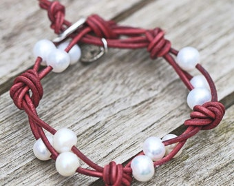 Maroon Knotted Pearl Wrap Leather Bracelet Birthday