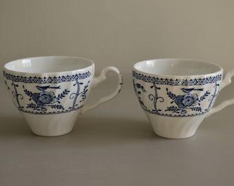 Vintage Set Of 2 Tea Cups Blue and White Ironstone Blue Transferware England  Farmhouse Kitchen Fixer Upper Style