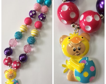 Easter Bear with Egg Chunky Bead Necklace, Easter Chunky Necklace, Bubblegum Necklace, Purple, Blue, Yellow & Pink Color Necklace