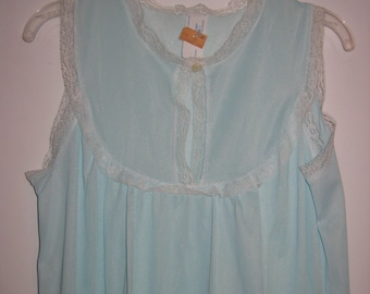 Nightgown. 1970's Vintage New Old Stock, with tag.   Nylon, Size Small.  Aqua.