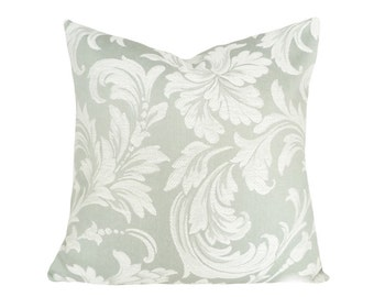 Seamist Pillow, Green Pillow Cover, Pale Green Pillow, Cream, Decorative Couch Pillows, Acanthus, Floral Cushion Covers, 12x18, 18x18, 20x20