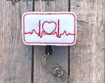 EKG Badge Reel, Nurse Badge Reel, EKG Heart Badge Reel, Heart Badge Reel, Cardiology Badge Reel, Retractable Badge Reel, ID Badge Holder