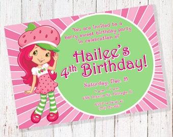 Strawberry Shortcake Birthday Invitation (DIGITAL FILE)