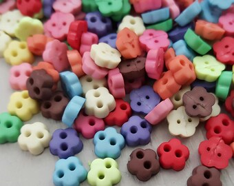 200+ Mini Buttons Mixed colours Resin 15g