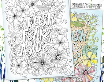 Floral Coloring Page, Printable Quote, Inspirational Colouring Page,  Quote coloring page, Instant Download, Meditation, Get well Gift,
