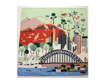 Sydney australia map motif cotton fabric, Japanese hankerchief, wrapping cloth, kawaii fabric, wall poster, noren tenugui, furoshiki fabric