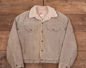 """Mens Vintage Levis White Tab 70608 1970s Chenille Sherpa Jacket Large 42"""" R6530"""