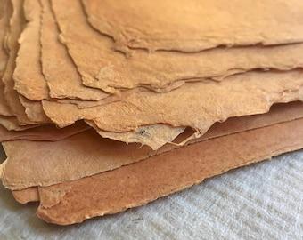 Turkish Madder, full sheets Indian Sunn Hemp orange handmade paper, 40 x 55 cm / 15.74 x 21.6 inches approx, 100 gsm artists paper