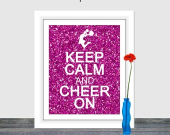 Keep Calm and Cheer On, Pink Glitter Cheer, Majenta Glitter, Cheer Art Print,  Pom Pom Art, Cheerleader Print, Cheerleader Art, 8x10, 16x20