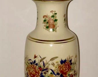 "Vintage Artist Signed 29"" Murray Feiss Floral Ginger Jar Urn Porcelain Lamp Traditional Asian Inspired Design"