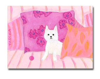 ORIGINAL Westie painting West Highland Terrier dog art cute white dog on pink pillows pet portrait painting by TASCHA