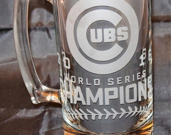 Chicago Cubs World Series Champions / Chicago Cubs / World Series 2016 - Etched Beer Mug