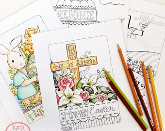 Four EASTER Coloring Pages Collection  INSTANT Download Scripture Digital Printable Download Christian Religious pdf Color Book
