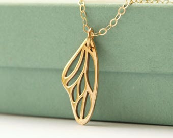 Butterfly Wing Necklace - Gold Bronze Wing Necklace - Butterfly Wing Jewelry - Gold Wing Charm - Gold Jewelry - Butterfly - Personalized -
