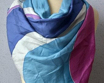 Vintage Silk Square Scarf: Sky Blue, White, Purple, Blue, Pink