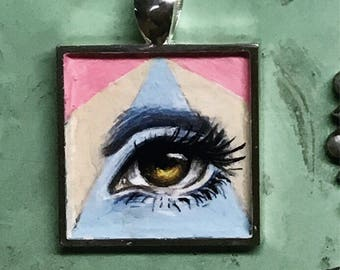 Lovers triangle - handpainted pendant