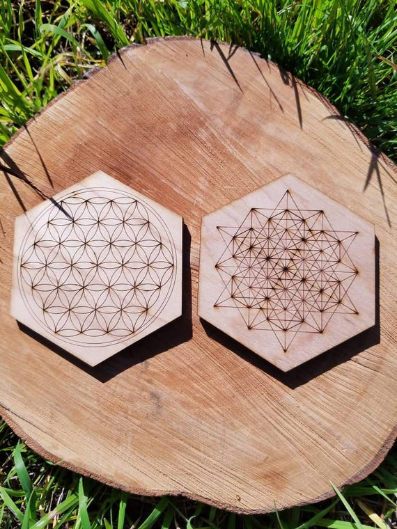 Sacred Geometry Coasters or Mini Crystal Grids - Flower Of Life or 64 Tetrahedron Grid - Lasercut from Sustainably Grown Wood