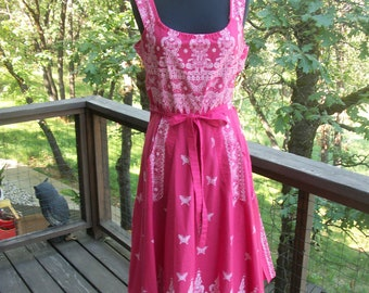 Beautiful Cotton Wrap Dress with Butterflies L XL