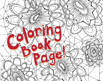 Coloring Book Page, Printable Download: Pointy Stripe, hand-drawn, mandala, zentagle, adult coloring, coloring book printable