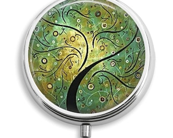 Pill Case Whimsical Green Tree Pill Box Case Trinket Box Vitamin Holder Medicine Box  Mint Tin Gifts For Her