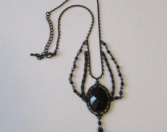 Vintage Revival Black Mourning Chain Necklace