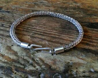 Viking knit silver bracelet medieval Celtic handmade
