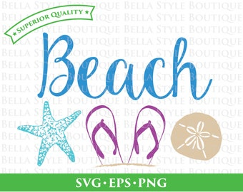 Beach Starfish Sand Dollar Flip Flops Vacation Relax svg png eps cut file